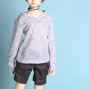 娃娃衣服 KDF Loose Fit V Neck Shirt Grey