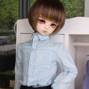 娃娃衣服 MDF Slim pintuck Shirt Sky blue