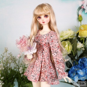娃娃衣服 SDF Chiffon flower one piece Pink