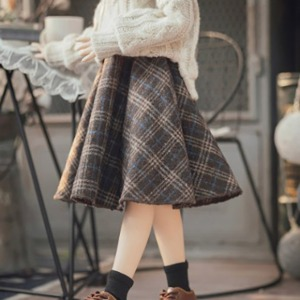 娃娃衣服 [Pre-Order] [MSD]Check long skirt(Brown)
