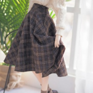 娃娃衣服 [Pre-Order] [SDG]Check long skirt(Brown)