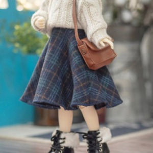 娃娃衣服 [Pre-Order] [JEUJEU30]Check long skirt(Navy)