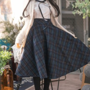 娃娃衣服 [Pre-Order] [SDG]Check long skirt(Navy)