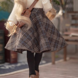 娃娃衣服 [Pre-Order] [JEUJEU30]Check long skirt(Brown)